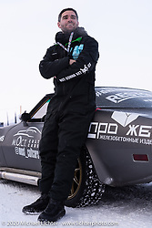 Anton Skrypnikov of the Moscow based MostCultCars Auto Museum with the LSR powered 1979 Chevrolet Corvette he drove at the Baikal Mile Ice Speed Festival. Maksimiha, Siberia, Russia. Thursday, February 27, 2020. Photography ©2020 Michael Lichter.