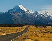 The peak of Aoraki / Mount Cook (3755 meters / 12,349 feet), in Aoraki / Mount Cook National Park, South Island, New Zealand. In 1990, UNESCO honored Te Wahipounamu - South West New Zealand as a World Heritage Area.