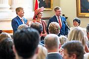 Koning Willem Alexander en koningin Maxima bij het Ontvangst Nederlandse Gemeenschap tijdens de tweede dag van het staatsbezoek aan Ierland. <br /> <br /> King Willem Alexander and Queen Maxima at the Reception of the Dutch Community during the second day of the state visit to Ireland.