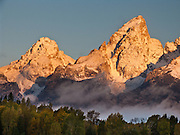 Middle and Grand Teton seen from Schwabacher Landing, Grand Teton National Park, Wyoming, USA