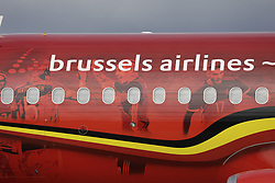 June 13, 2018 - Zaventem, BELGIUM - Illustration shows the special plane of Brussels Airlines called 'the Trident' with Belgian flag colours and pictures of players, ahead the departure of the Belgian national soccer team Red Devils, Wednesday 13 June 2018, in Zaventem airport. The Red Devils flight to Moscow today for the FIFA World Cup 2018...BELGA PHOTO THIERRY ROGE (Credit Image: © Thierry Roge/Belga via ZUMA Press)