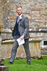 October 14, 2017 - East Brent, Somerset, United Kingdom - Image ©Licensed to i-Images Picture Agency. 14/10/2017. East Brent, United Kingdom. England Cricketer Ben Stokes Wedding. England Cricketer  Ben Stokes marries Clare Ratcliffe at the church of St Mary the Virgin, East Brent, Somerset, The cricketer has recently been banned from playing for  the England cricket team after an incident in Bristol.  Picture by Andrew Parsons / i-Images (Credit Image: © Andrew Parsons/i-Images via ZUMA Press)