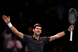 Serbia's Novak Djokovic celebrates winning his men's singles match on day six of the Nitto ATP Finals at The O2 Arena, London.
