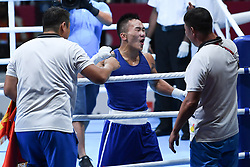 JAKARTA, Sept. 1,2018  Tsendbaatar Erdenebat of Mongolia reacts after winning Men's Light 60kg Boxing Final match against Shunkor Abdurasulov of Uzbekistan at the 18th Asian Games in Jakarta, Indonesia, Sept. 1, 2018. (Credit Image: © Pan Yulong/Xinhua via ZUMA Wire)