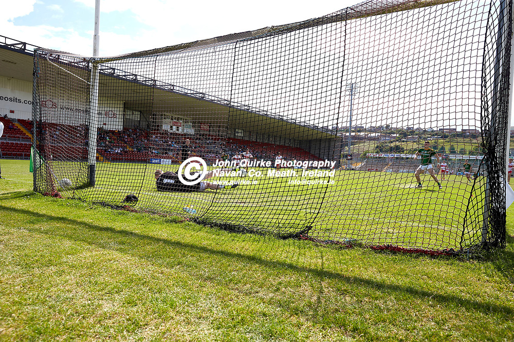 2021-7-10, 2020 All Ireland MFC Semi-Final at Pairc Esler, Newry.<br /> Meath v Derry<br /> Meath captain, Eoghan Frayne misses a penalty but scores the rebound in the second half of the 2020 MFC Semi-Final against Derry<br /> Photo: David Mullen / www.quirke.ie ©John Quirke Photography, Proudstown Road Navan. Co. Meath. 046-9079044 / 087-2579454.<br /> ISO: 400; Shutter: 1/1600; Aperture: 5;