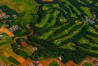 Aerial view of a golf course near Narita International Airport, Tokyo, Japan.