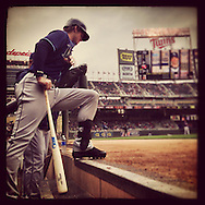 An Instagram of Wil Myers of the Tampa Bay Rays waiting on the steps of thd dugout at Target Field in Minneapolis, Minnesota.
