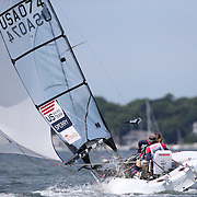 Skipper Sarah Everhart Skeels, (right), Tiverton, RI, and Cindy Walker, Middletown, RI, the only all female team competing in The Skud 18 class, in action during the C. Thomas Clagett, Jr. Memorial Clinic & Regatta at Newport, Rhode Island hosted by Sail Newport at Fort Adams. <br /> The Clagett is North America's premier event for sailors with disabilities with sailors competing in the 3 Paralympic class boats and is an integral part of preparation for athletes preparing for  Paralympic and world championship racing. Newport, Rhode Island, USA. 26th June 2015. Photo Tim Clayton