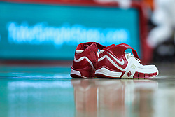 NORMAL, IL - December 16: Pair of shoes on basketball court during a college women's basketball game between the ISU Redbirds and the Maryville Saints on December 16 2018 at Redbird Arena in Normal, IL. (Photo by Alan Look)