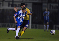 Photo: Ashley Pickering/Sportsbeat Images.<br /> Colchester United v Leicester City. Coca Cola Championship. 03/11/2007.<br /> Mark Yeates of Colchester (L) tries to get around Alan Sheehan of Leicester