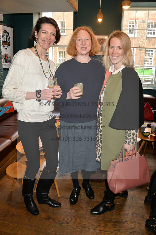 Left to right, THOMASINA MIERS, MARGOT HENDERSON and MARSHA MONRO at a ladies lunch hosted by Thomasina Miers was held at her restaurant Wahaca, 19-23 Charlotte Street, London W1 on 10th January 2014.