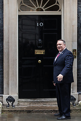 London, UK. 30 January, 2020. US Secretary of State Mike Pompeo arrives at 10 Downing Street for a meeting with Prime Minister Boris Johnson. Topics to be discussed are expected to include the role of Chinese multinational technology company Huawei in the construction of the UK's 5G digital network.
