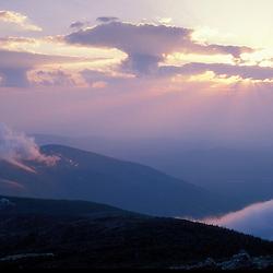 AMC Huts. White Mountain NF. God rays.  Sunset.  Greenleaf Hut.  Mt. Lafayette, NH