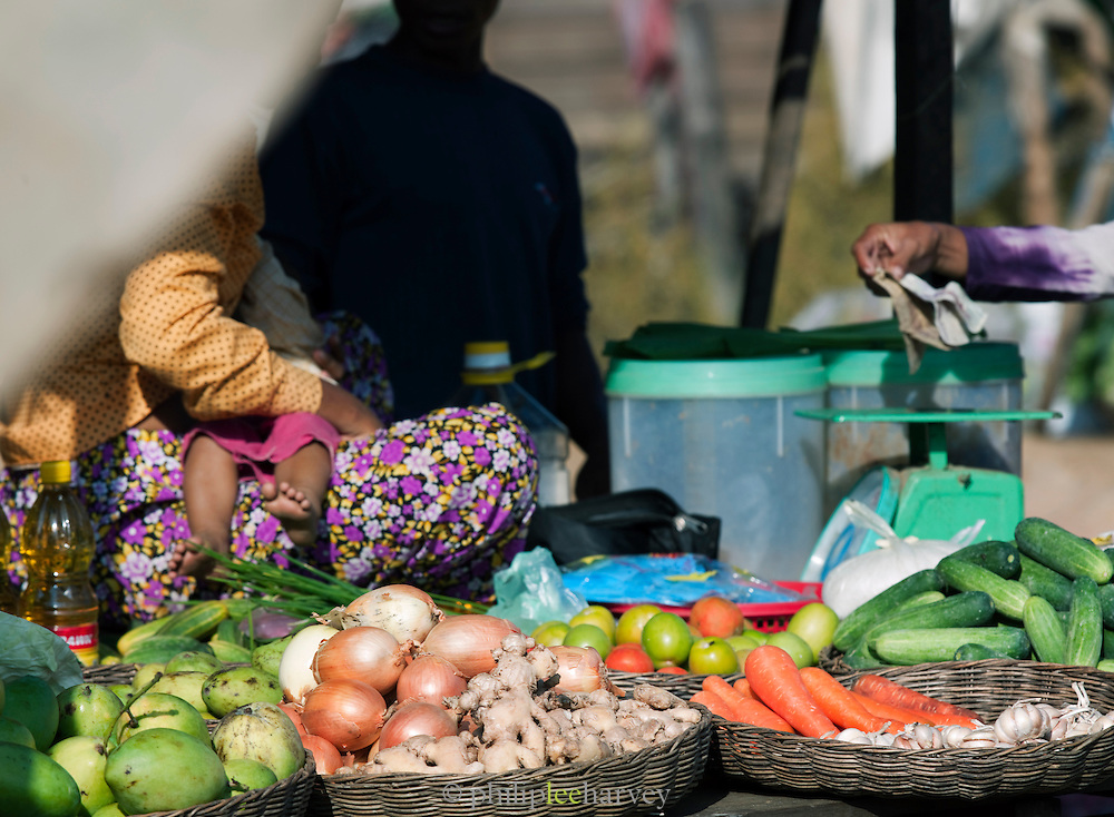 Fruit and vegetables for sale at a roadside market near the temples of Koh Ker, northern Cambodia