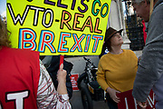 On the day the Prime Minister brings his Brexit bill for a vote at the House of Commons, Pro Brexit anti European Union Leave protesters demonstrating in Westminster on 22nd October 2019 in London, England, United Kingdom. Brexit is the scheduled withdrawal of the United Kingdom from the European Union. Following a June 2016 referendum, in which 51.9% of participating voters voted to leave.