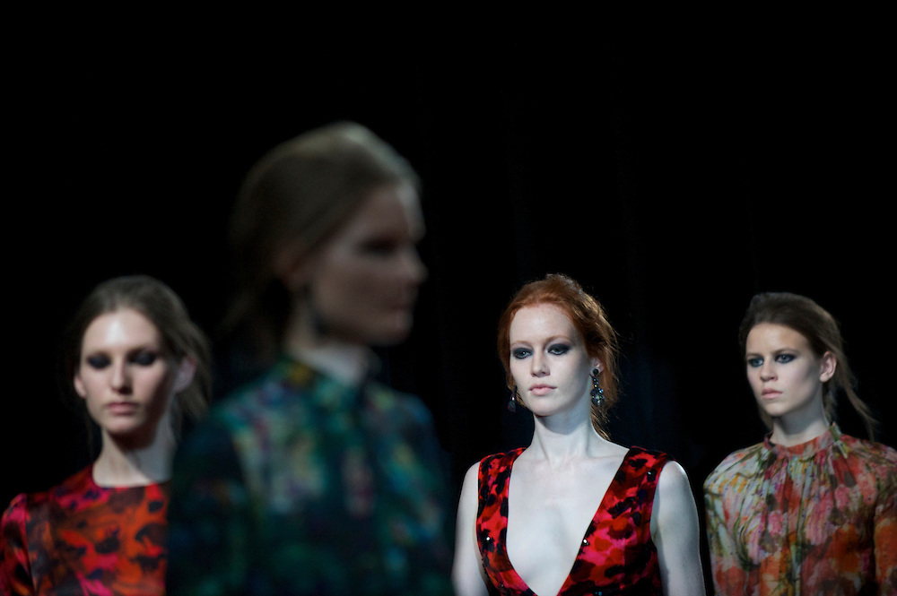 Models exhibit the Erdem autumn 2011 collection at University of Westminster in London on 21 February 2011.