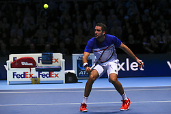 November 16, 2017 - London, England, United Kingdom - Marin Cilic of Croatia plays a backhand in his Singles match against Roger Federer of Switzerland during day five of the Nitto ATP World Tour Finals at O2 Arena on November 16, 2017 in London, England. (Credit Image: © Alberto Pezzali/NurPhoto via ZUMA Press)