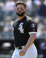 CHICAGO - MAY 14:  Yonder Alonso #17 of the Chicago White Sox looks on against the Cleveland Indians on May 14, 2019 at Guaranteed Rate Field in Chicago, Illinois.  (Photo by Ron Vesely)  Subject:  Yonder Alonso