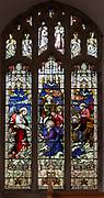 Stained glass window of Walking on Waters c 1901 J. Hardman, Aldeburgh church, Suffolk, England, UK