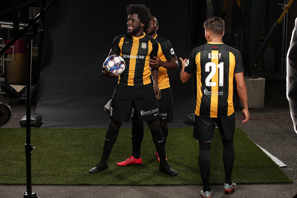 Tah Brian Anunga (22), Neveal Hacksaw (8), Angelo Kelly (21)<br /> Media Day, Home Kits, Charleston Battery at MUSC Health Stadium in Charleston, S.C. on Tuesday, June 19, 2018.<br /> Zach Bland/Charleston Battery