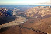 Alaska. Aerial view of Toklat River looking North, Denali National Park.