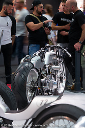 """Fred Bertrand's (Krugger Motorcycles in Belgium) latest speed inspired creation with its 103"""" S&S motor for the AMD World Championship of Custom Bike Building show in the custom themed Hall 10 at the Intermot Motorcycle Trade Fair. Cologne, Germany. Saturday October 8, 2016. Photography ©2016 Michael Lichter."""