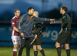 Airdrie's manager Ian Murray at the end not happy with ref Steven Reid. Stenhousemuir 1 v 0 Airdrie, Scottish Football League Division One played 26/1/2019 at Ochilview Park.