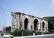 Porte de Mars is an ancient Roman triumphal arch in Reims, France 1971