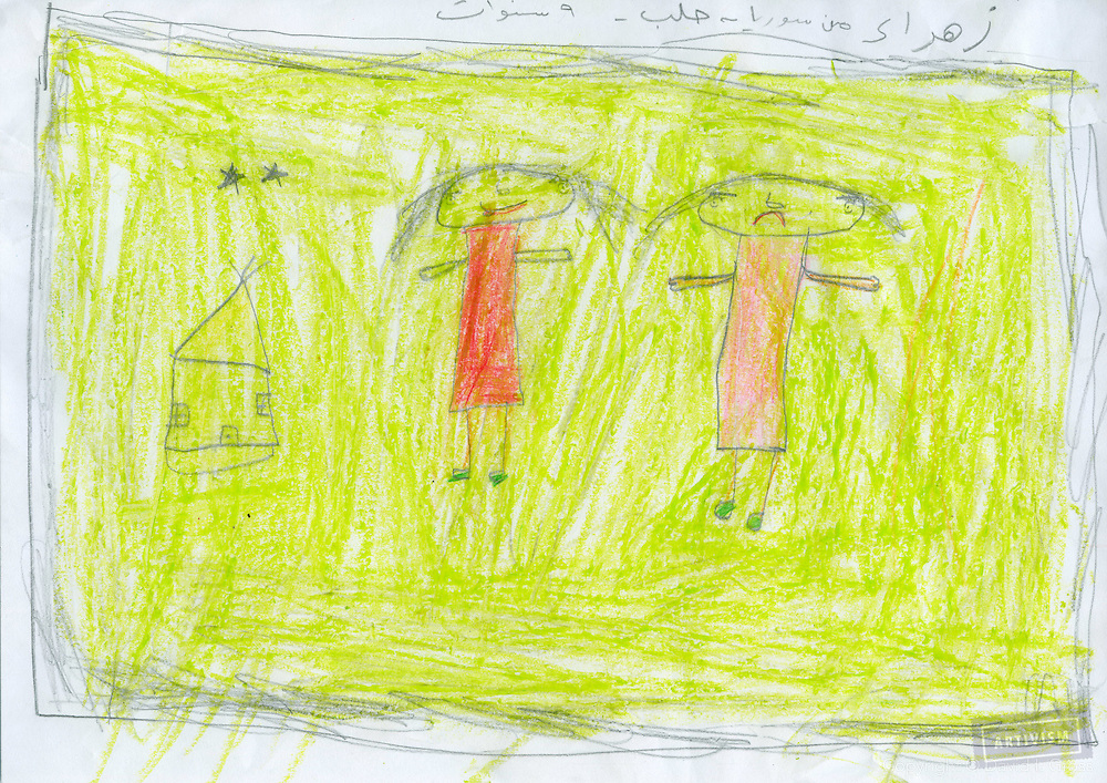 Zahraa (girl)/ 9 / Aleppo<br /> (She horrored and frightened when we asked drawing bad things...<br /> and she did not say anything...