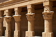 Columns at Temple of Philae on the River Nile, Aswan, Egypt