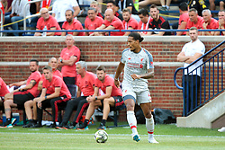July 28, 2018 - Ann Arbor, Michigan, United States - Virgil van Dijk (4) of Liverpool looks to pass during an International Champions Cup match between Manchester United and Liverpool at Michigan Stadium in Ann Arbor, Michigan USA, on Wednesday, July 28,  2018. (Credit Image: © Amy Lemus/NurPhoto via ZUMA Press)