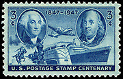 Postage Stamp Centenary 3-cent 1947 issue U.S. stamp, commemorating the 100th anniversary of the first United States postage stamps. Portraits of George Washington and Benjamin Franklin appear at left and right respectively. These are the same portraits used on the first stamp issue of 1847.