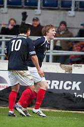 Falkirk's David Weatherston celebrates after scoring their third goal..Falkirk 4 v 1 Forfar Athletic, Scottish Cup fifth round tie, 2/2/2013. .©Michael Schofield.