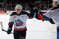 KELOWNA, BC - FEBRUARY 17: Elias Carmichael #14 of the Kelowna Rockets celebrates a second period goal against the Calgary Hitmen at Prospera Place on February 17, 2020 in Kelowna, Canada. (Photo by Marissa Baecker/Shoot the Breeze)