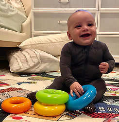 """Eva Longoria releases a photo on Twitter with the following caption: """"""""He's always smiling! My little angel!! 👼🏻#BedtimeGiggles @kickeepants"""""""". Photo Credit: Twitter *** No USA Distribution *** For Editorial Use Only *** Not to be Published in Books or Photo Books ***  Please note: Fees charged by the agency are for the agency's services only, and do not, nor are they intended to, convey to the user any ownership of Copyright or License in the material. The agency does not claim any ownership including but not limited to Copyright or License in the attached material. By publishing this material you expressly agree to indemnify and to hold the agency and its directors, shareholders and employees harmless from any loss, claims, damages, demands, expenses (including legal fees), or any causes of action or allegation against the agency arising out of or connected in any way with publication of the material."""