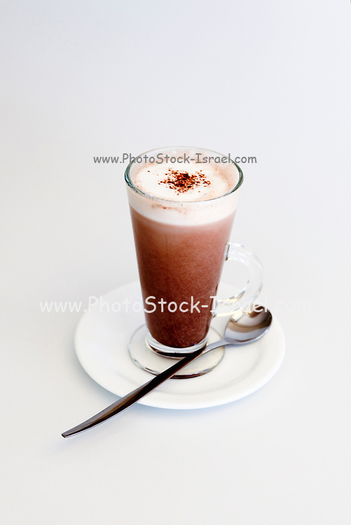Glass of Hot Chocolate milk On white background