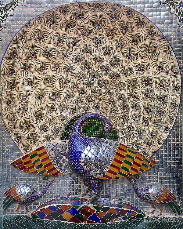 Elaborate mosaics of peacocks are a particular feature of the City Palace in the city of Udaipur, Rajasthan, India <br /> <br /> Editorial & Non-Commercial use only