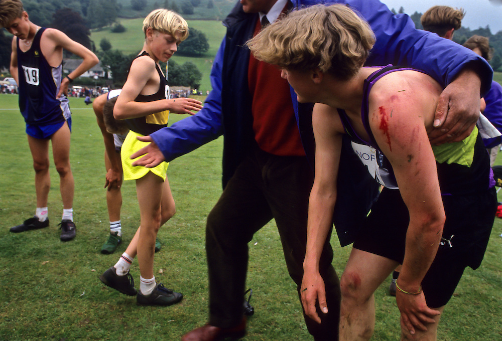 A group of runners after a race in Northern England.