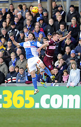 Bristol Rovers' John-Joe OToole battles for the high ball with Portsmouth's Jed Wallace - Photo mandatory by-line: Joe Meredith/JMP - Tel: Mobile: 07966 386802 21/12/2013 - SPORT - FOOTBALL - Memorial Stadium - Bristol - Bristol Rovers v Portsmouth - Sky Bet League Two