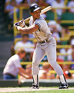 CHICAGO - 1988:  Rickey Henderson of the New York Yankees bats during an MLB game versus the Chicago White Sox at Comiskey Park in Chicago, Illinois during the 1988 season. (Photo by Ron Vesely).  Subject:   Rickey Henderson