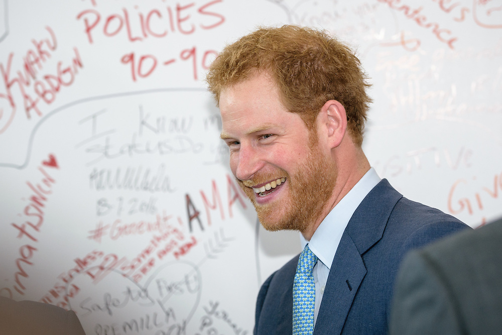 """21 July 2016, Durban, South Africa: """"We cannot beat HIV without giving young people a voice. Without education and empowerment, HIV will win,"""" said Prince Harry at the International AIDS Conference in Durban, as he and Sir Elton John joined forces by the """"Pro Test"""" wall."""