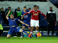Anthony Martial of Manchester United gets away from the tackle of Christian Fuchs of Leicester City - Mandatory byline: Robbie Stephenson/JMP - 28/11/2015 - Football - King Power Stadium - Leicester, England - Leicester City v Manchester United - Barclays Premier League