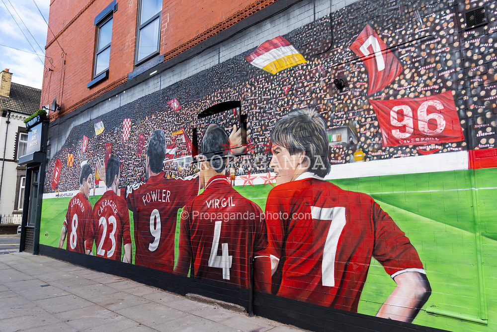 LIVERPOOL, ENGLAND - Saturday, August 29, 2020: A new street art mural of Liverpool FC players Steven Gerrard, Jamie Carragher, Robbie Fowler, Virgil van Dijk and Kenny Dalglish. The mural was created by Murwalls on the side of the Arc Hotel near Liverpool FC's Anfield Stadium. (Pic by Propaganda)