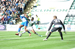 Bristol Rovers' Ellis Harrison is tackled in the box by Plymouth Argyle's Durrell Berry  - Photo mandatory by-line: Dougie Allward/JMP - Tel: Mobile: 07966 386802 07/09/2013 - SPORT - FOOTBALL -  Home Park - Plymouth - Plymouth Argyle V Bristol Rovers - Sky Bet League Two