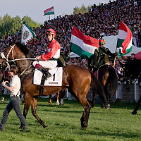 Racing horses compete during the Hungary Grand Prix at Kincsem Park. Budapest, Hungary. Sunday, 19. April 2009. ATTILA VOLGYI
