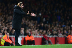 Norwich City head coach Daniel Farke gives his team directions on the touchline. - Mandatory by-line: Alex James/JMP - 24/10/2017 - FOOTBALL - Emirates Stadium - London, England - Arsenal v Norwich City - Carabao Cup