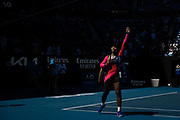 Serena Williams of the U.S. waves to the crowd while leaving the court after being eliminated with a semifinal match loss to Japan's Naomi Osaka at the 2021 Australian Open at Melbourne Park in Melbourne, Australia. Asked during the post-match press conference whether it was her final Australian Open appearance, Williams would not say and departed in tears.