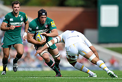 Leicester Tigers flanker Julian Salvi goes on the attack - Photo mandatory by-line: Patrick Khachfe/JMP - Tel: Mobile: 07966 386802 - 08/09/2013 - SPORT - RUGBY UNION - Welford Road Stadium - Leicester Tigers v Worcester Warriors - Aviva Premiership.