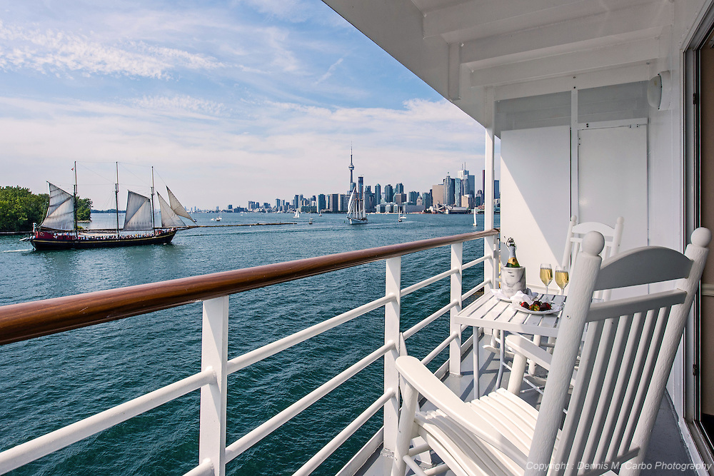 Balcony of Pearlmist Cruise ship off the coast of Toronto