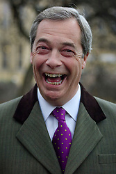 © Licensed to London News Pictures. 30/01/2017. London, UK. Former leader of UKIP, NIGEL FARAGE seen speaking during a television interview in Westminster, London. Farage has been supportive of President Donald Trump's executive order to halt travel to the USA from seven Muslim-majority countries. Photo credit: Ben Cawthra/LNP